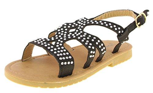 Price comparison product image 'Bebe Toddler Girls\' Nubuck Rhinestone Black Sandals, Size 5-6'