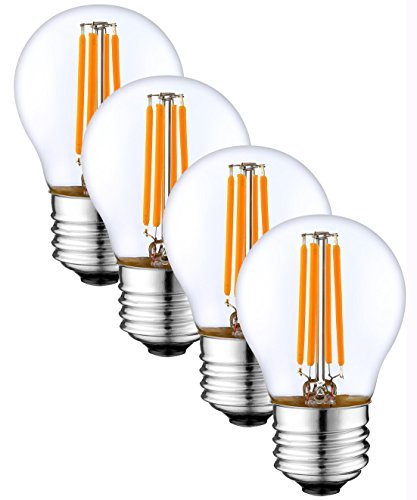 SleekLighting 4 Watt G16 E26 LED Filament Globe Light Bulb,Dimmble (35W Incandescent Replacement) Warm White 2700K - 4 Pack