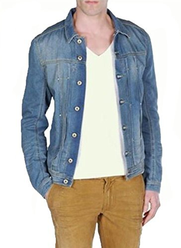 Diesel Juzicon Cotton Blend Button Jacket Denim (Diesel Denim Jackets)