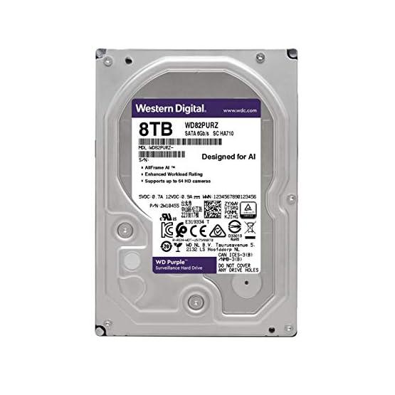 """WD Purple 8TB Surveillance Internal Hard Drive - 7200 RPM Class, SATA 6 GB/S, 256 MB Cache, 3.5"""" - WD82PURZ 41Ohm9tUbuL. SS555"""