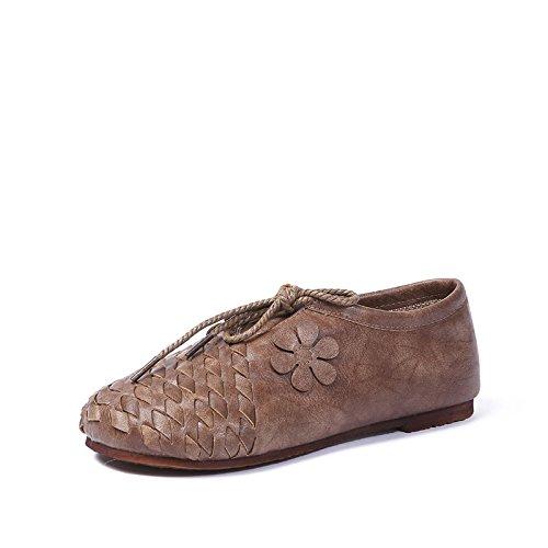 Angrousobiu Rückgang im Frühjahr aus weichem Leder Single Schuhe Schuhe Casual antiken Fladenbrot mit Damenschuhe Schuhe Schuhe Khaki 6da9ec