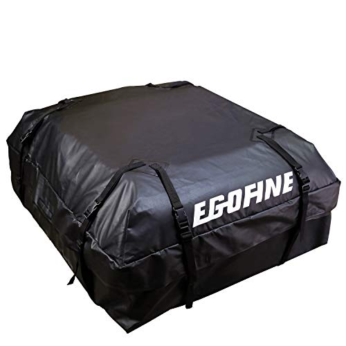 Rooftop Waterproof Carrier (Egofine Rooftop Cargo Bag Waterproof Car Rooftop Cargo Carrier Bag Car Roof Luggage Carrier Bag (15 Cubic Feet) for Cars, Vans and SUVs with Roof Rail or Roof Rack)