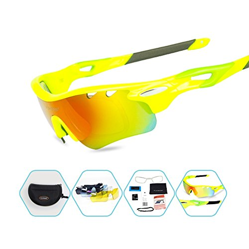189b524186f Polarized Sports Sunglasses with 5 Interchangeable Lenses for Men Women  Cycling Baseball Running Fishing Driving Golf