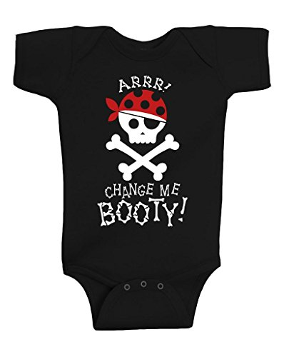 Gina Lou Change Me Booty Pirate Onesie Infant Bodysuit Baby Romper Black (6 Months)
