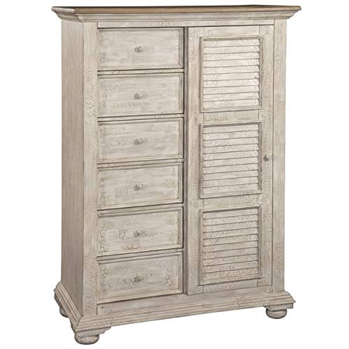 (American Woodcrafters Cottage Traditions Crackled White Gentleman's Chest)