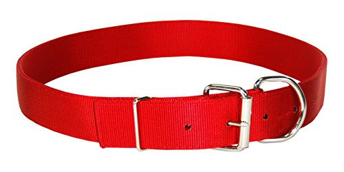 - Hamilton Deluxe Double Thick Nylon Calf Collar, 1-3/4 by 36-Inch, Red