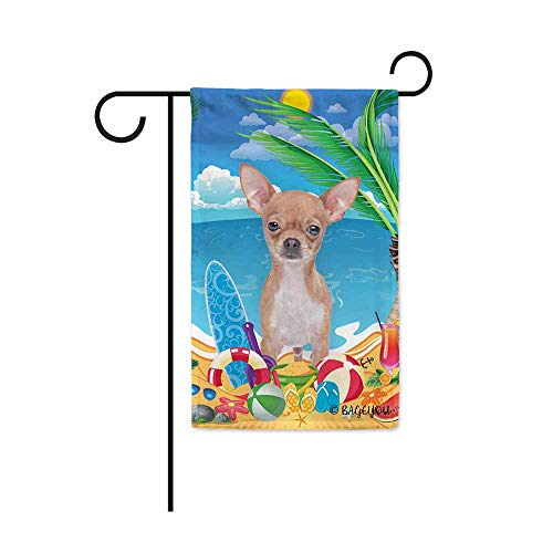 Chihuahua Garden Flag - BAGEYOU Hello Summer My Love Dog Chihuahua On The Beach Garden Flag Cute Puppy Children Toys Lemon Juice Watermelon Flip Flop Tropical Palm Decor Banner for Outside 12.5X18 Inch Print Double Sided