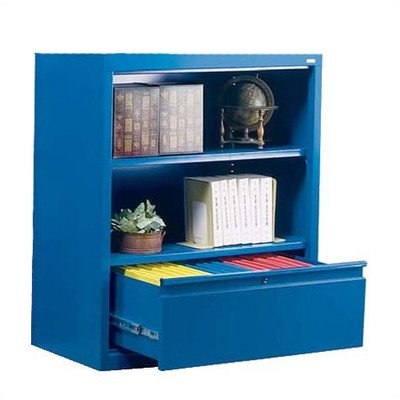 Sandusky Lee BD10361842-06 System Series Bookcase with File Drawer, Blue - Series Metal Bookcases
