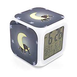 Boyan New Black Cat Moon Led Alarm Clock Creative Desk Table Clock Multipurpose Calendar Snooze Glowing Led Digital Alarm Clock for Unisex Adults Kids Toy Gift