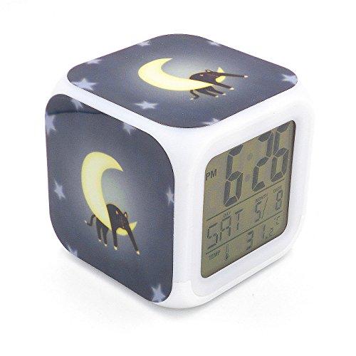 Boyan New Black Cat Moon Led Alarm Clock Creative Desk Table Clock Multipurpose Calendar Snooze Glowing Led Digital Alarm Clock for Unisex Adults Kids Toy Gift