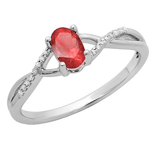 Dazzlingrock Collection 10K 6X4 MM Ruby & White Diamond Bridal Swirl Engagement Promise Ring, White Gold, Size 6 ()