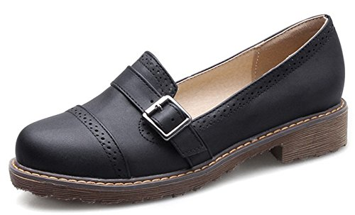 IDIFU Womens Classic Low Top Slip On Low Chunky Heels Brogues Oxfords Wear To Work Shoes Black MSBeDE