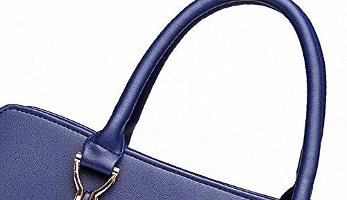 10 Bandouliere Cm tout Wealsex Main Grande Taille Fourre 33 Porté 23 Femme Sac Bleu Ol Epaule Classique Sacoche Pu Shopping A Cuir Mode tffwUg