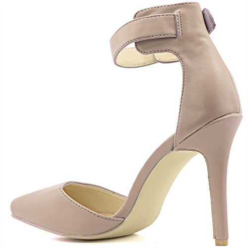 DailyShoes Womens High Heel Pointed Toe Ankle Buckle Strap Evening Party Dress Casual Sandal Shoes Nude Pu linsHap