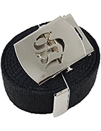 """Old English Initial S"""" Canvas Military Web Black Belt & Silver Buckle 60 Inch"""