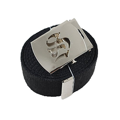 1 Old English Initial S Canvas Military Web Black Belt /& Silver Buckle 60 Inch ACCmall Cho
