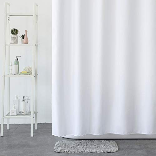 Aimjerry White Fabric Shower Curtain 71 by 71 Inch Cleaning Waterproof Polyester Bathroom Curtain