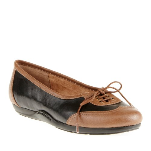 Easy Spirit Women's Pagerly Flats, Black/Bison, 7 N/2A