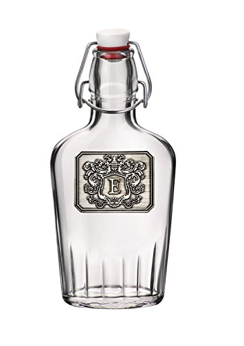 Personalized Glass Pocket Flask - Monogram Initial Pewter Engraved Crest - Novelty for Weddings, Birthdays or any Special Occasions - Pick Your Letter (E, 8.5OZ)