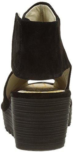 Punta Black FLYA4 para Zapatos 007 Negro London Mujer de Fly Yone642fly Descubierta ZpRSZ