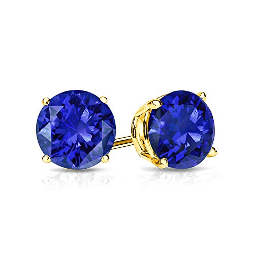 9mm Created Sapphire Stud Earrings in 14k Yellow Gold (4.5 CT. T.W.) ()