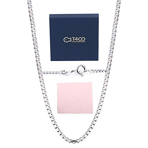 (T400 Jewelers 925 Sterling Silver 1.5mm Italian Box Chain Necklace 16 18 20 24 30 inch Unisex Gift for Women Men Boys)