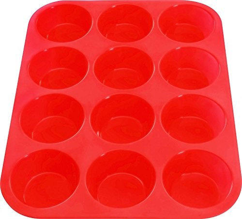 Utopia Home Silicone Muffin Tray - 12 Molds/Cups - Non-Stick - Baking Pans - BPA Free - Ideal for Cupcakes, Muffins and Mini Cakes