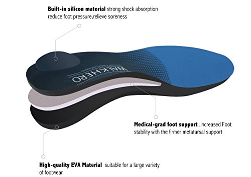 Medical Orthotic Arch Support Shoe Insoles for Women Pain Relief Pronation Orthotics for Arch Pain Shoe Inserts for Flat Feet Shock-Absorbing,Deep Heel Cradle, Mens 12-12 1/2 | Womens 14-14 1/2 by WalkHero (Image #3)