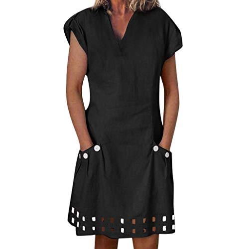 Sagton T Shirt Dresses for Women V-Neck Ruffled Pockets Lace Shift Daily Buttoned-Decor Dresses (Black,XXL)