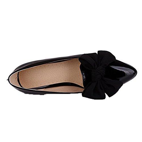 VogueZone009 Damen Fransig Blend-Materialien Niedriger Absatz Spitz Zehe Pumps Schuhe Schwarz