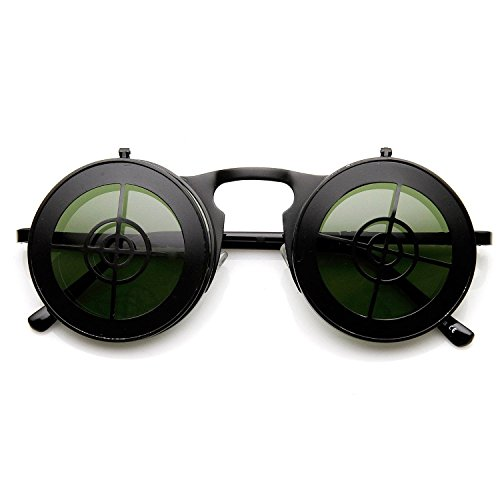 [SPEXX Full Metal Bullseye Crosshair Flip-up Steampunk Style Sunglasses (Black)] (Victorian Era Mens Costumes)
