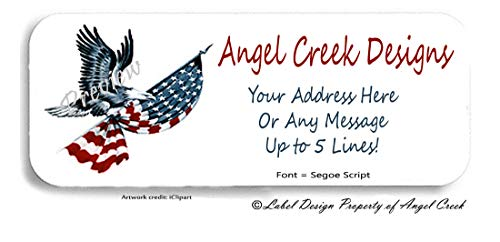 60 USA Eagle American Flag Stars and Stripes Personalized Return Address Labels ()