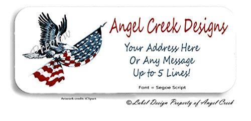 60 USA Eagle American Flag Stars and Stripes Personalized Return Address ()