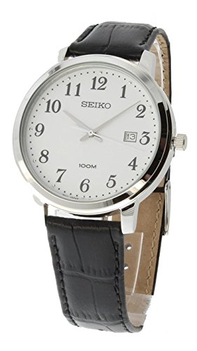 Seiko White Dial Stainless Steel Leather Quartz Men's Watch SUR113 (Dial White Polished)