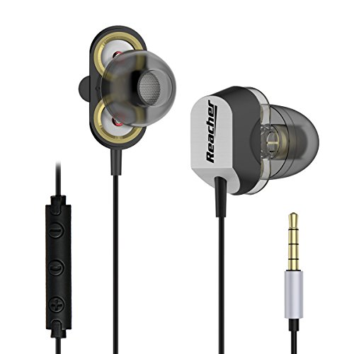 Reacher High Definition Dual Dynamic Driver Heavy Bass In-Ear Headphones with Mic Running Gym Jogging Earphones for iPhone and Android Smartphones
