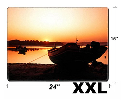MSD Extra Large Mouse Pad XXL Extended Non-Slip Rubber Large Gaming Desk Mat IMAGE 20987111 Fishing boat in harbour silhouetted against setting sun Alvor Algarve (Fishing Harbour)