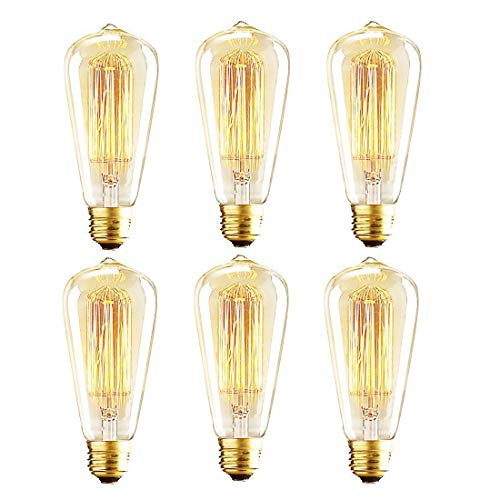 Vintage Edison Bulbs, 60W ST64 Dimmable Incandescent Light Bulbs, Squirrel Cage Filament Bulbs, 2700K Soft Warm White Light Bulb, 370 Lumens, Retro Light Bulbs, Amber Glass,E26 Medium Base, Pack of 6