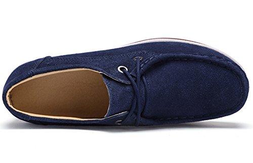 DADAWEN Women's Slip-on Moccasins Low Top Platform Wedge Thick Heel Walking Shoes Blue (b) LDG1jw2byZ