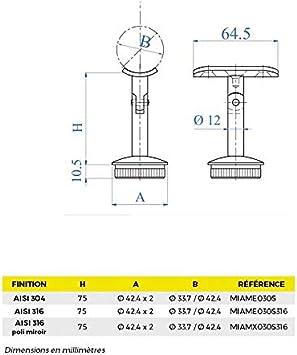 pour garde-corps et poteaux rond Support de main courante orientable inox AISI 304 Finition bross/ée