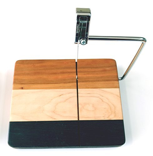 Cheese Slicing Board by Premiere Brands Handmade Custom Mixed Hardwood Cheese Slicer w/ Stainless Steel Cutting Bar and Cutting Wire, Cherry, Maple and/or Walnut, 1 Year Warranty
