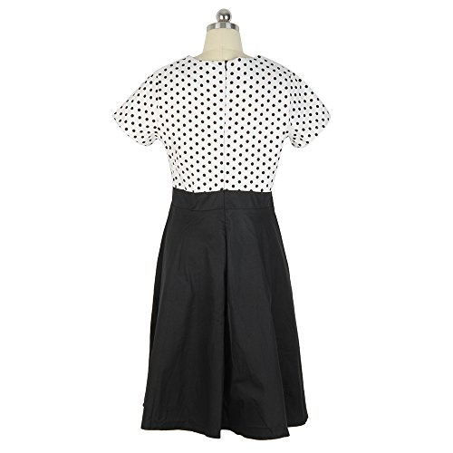 ZAFUL Mujer Vintage Vestido Estilo 50s Retro Hepburn Elegante Vestidos de Verano Mangas Cortas Cuello V Talla Grande XL - 5XL Negro