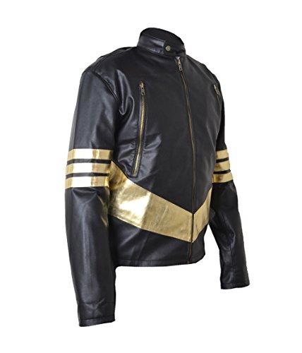 Xmen Wolverine Jackman Golden Stripes Real Sheep Leather Jacket