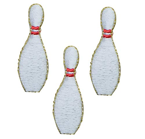 Spk Art 3 Pcs Bowling Pin Embroidery Applique Iron On Patch, Sew on Patches Badge DIY Craft