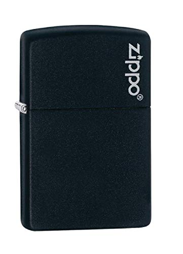 Zippo Logo Black Matte Pocket Lighter (Time Pipe Adventure)