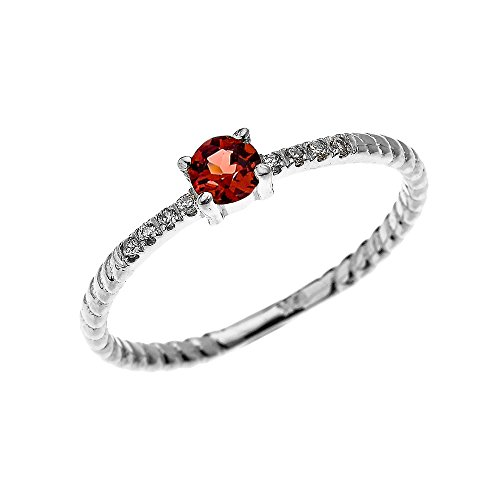 (10k White Gold Dainty Solitaire Garnet and Diamond Rope Design Engagement/Proposal/Stackable Ring(Size 7.25))