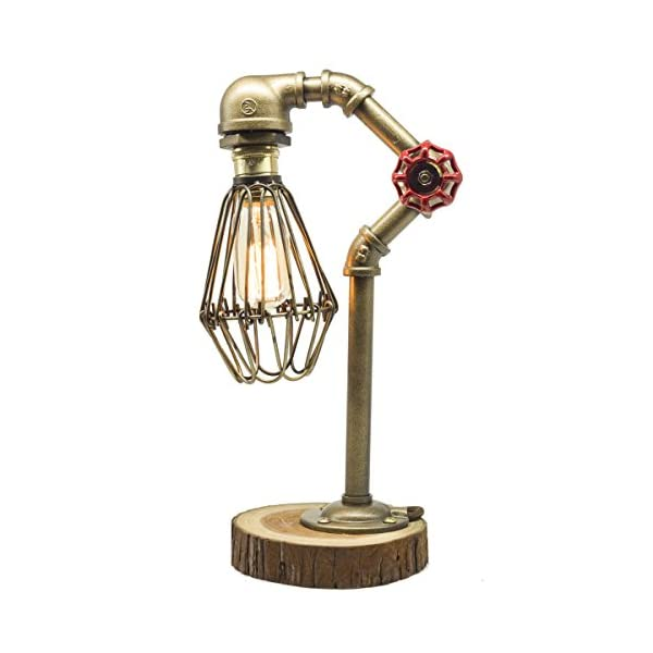 """Y-Nut Loft Style Lamp,""""The Cage"""", Steam Punk Industrial Vintage Style, Wood Base Metal Body, Table Desk Light with Dimmer 3"""