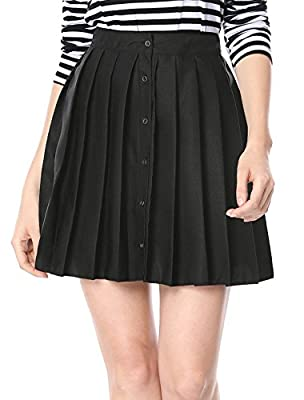 Allegra K Women's Solid Button Closure Front Flare A-Line Pleated Skirt