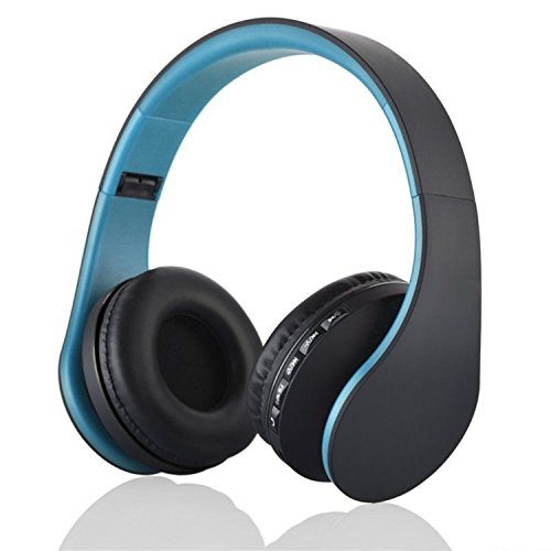 US Shipping Blue Bluetooth Headphones Wireless Stereo Headsets Earbuds with Mic Support TF Card FM Radio for iPhone Samsung