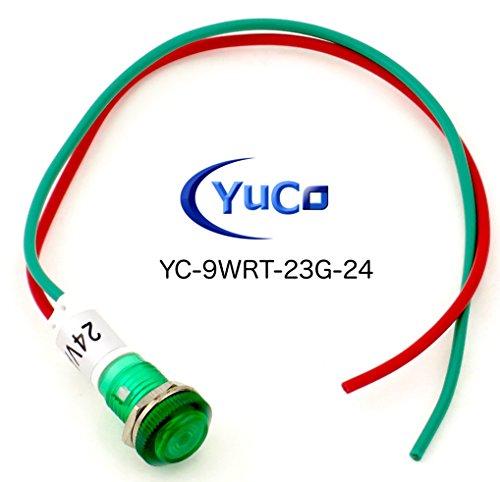 10 YC-9WRT-23G-24-10 YuCo CE LISTED 9MM COMPACT PANEL MOUNT INDICATOR LED PILOT LIGHT GREEN 24V AC/DC by Yuco (Image #4)