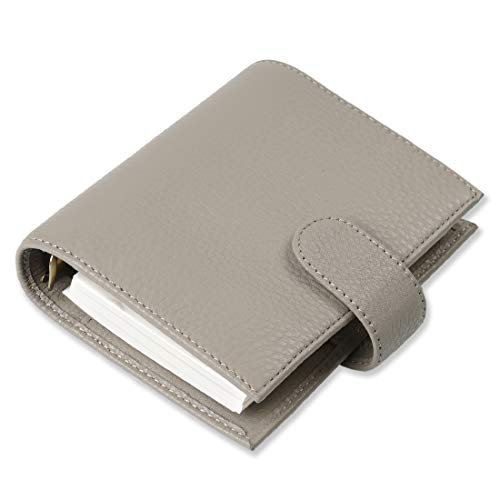 White Milled Leather - Moterm Genuine Leather A7 Binder Organiser, Milled Pattern Planner Binder, 5.63 x 4.53 Inches 6 Rings Agenda Planner Spiral Binder Notebook with Lined Refills (A7 Size, White Grey)